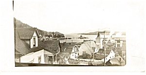 Real Photo Village And Harbor Postcard P0689