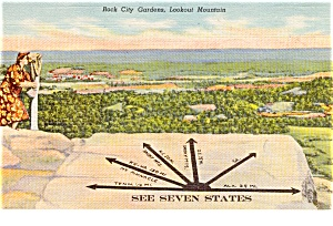 Rock City Gardens Lookout Mt Postcard (Image1)