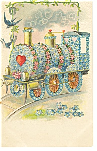 Valentines Postcard Train of Flowers Germany (Image1)