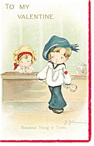 Valentines Children  Postcard  Artist Signed (Image1)