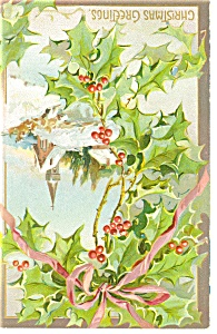 Holly and Church  Raphael Tuck Postcard p10016 (Image1)
