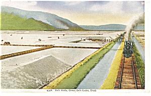 Great Salt Lake UT Salt Beds Steam Train Postcard p10127 (Image1)