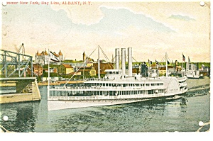 Steamer New York, Day Line at Albany Postcard p10135  1908 (Image1)