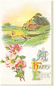 Easter Postcard Flowers and Home Scene p10156 1921 (Image1)