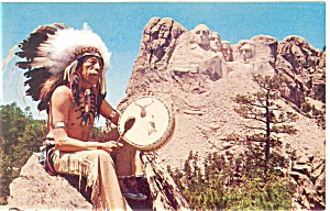 Mt Rushmore SD Postcard with a Sioux Indian p10202 (Image1)