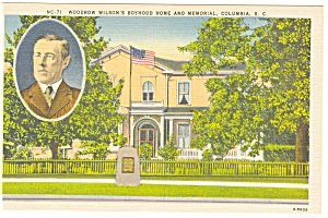 Columbia, SC, Woodrow Wilson Boyhood Home Postcard (Image1)