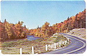 Autumn River And Highway Scene Postcard P1025