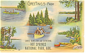 Hot Springs National Park, Ar Linen Postcard