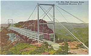 Grandfather Mountain NC Swinging Bridge Postcard p10293 (Image1)