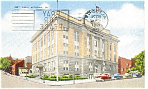 Altoona, PA ,City Hall Postcard Old Cars 1957 (Image1)