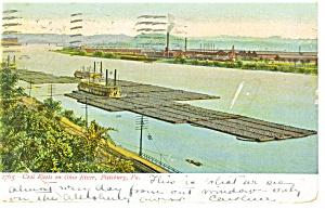 Pittsburgh  PA Coal Fleet on Ohio River Postcard p10312 1909 (Image1)