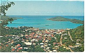 Charlotte Amalie Harbor St Thomas Postcard p10451 1965 (Image1)