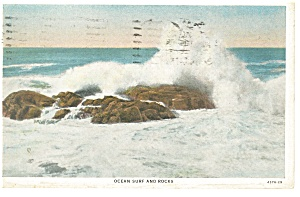 Ocean Surf And Rocks Postcard 1935