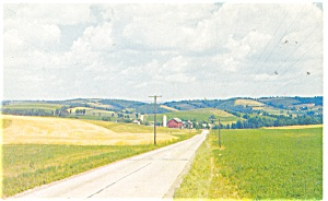 Rural Highway Farm Scene Postcard (Image1)