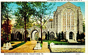 Valley Forge,PA, Washington Chapel Postcard ca 1930 (Image1)