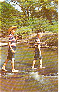 Boys Fishing Postcard P1059