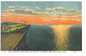 Train Crossing Great Salt Lake Cut Off Postcard p10619 (Image1)