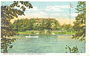 Thousand Islands NY Swiss Chalet Postcard p10649 1928 (Image1)