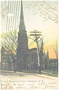 Amsterdam N  Second Presbyterian Church Postcard p10656 1907 (Image1)