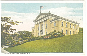 Corning, NY, County Court House Postcard 1921 (Image1)
