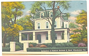 Winchester, VA, Birthplace Adm Byrd Postcard (Image1)