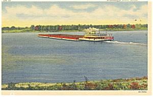 Mississippi River Scene Barge and Tugboat Postcard p10729 (Image1)