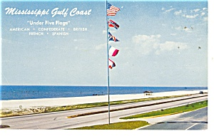 Mississippi Gulf Coast Five Flags Postcard p10761 (Image1)