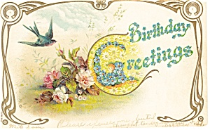 Birthday Greetings Postcard 1906 (Image1)