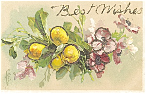 Best Wishes Vintage Postcard with Glitter (Image1)
