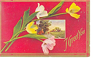 I Greet You Vintage Postcard p10772 1911 (Image1)