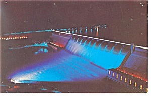 Grand Coulee Dam WA at night Postcard p10945 (Image1)