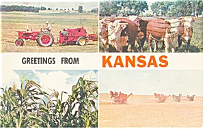 Greetings From Kansas Multi View Postcard 1965 (Image1)