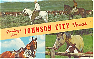 Greetings From Johnson City, TX Postcard 1966 (Image1)