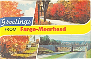 Greetings From Fargo-Morehead,ND Postcard 1968 (Image1)