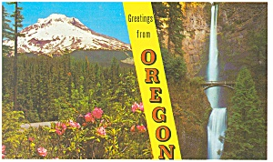 Greetings From Oregon Two View Postcard 1962 (Image1)