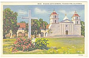 Mission Santa Barbara CA Postcard p11009 (Image1)