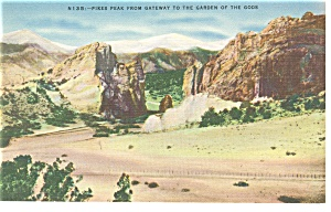 Pikes Peak CO From Garden of the Gods Postcard p11043 (Image1)
