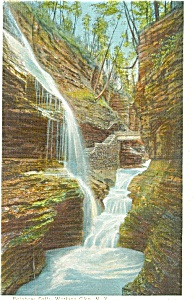 Watkins Glen NY Rainbow Falls Postcard (Image1)