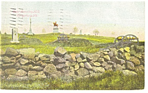 Gettysburg, PA East Cemetery Hill Postcard 1910 (Image1)