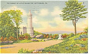 Gettysburg PA Little Round Top Postcard p11117 1945 (Image1)