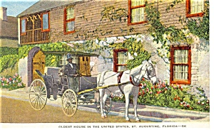 Horse And Carriage At Oldest House In Us Fl Postcard P11130