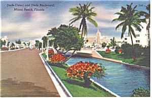 Miami Beach FL Dade Canal and Blvd  Postcard p11267 (Image1)