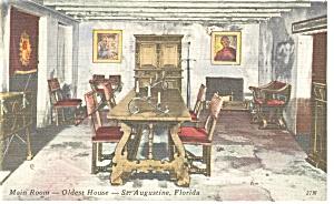 St Augustine Florida Main Room Oldest House Postcard p11282 (Image1)