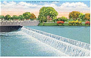 Wichita, KS, Little River Dam Postcard (Image1)