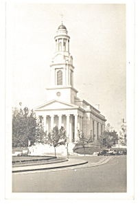 Tall Steeple Church Cars 1930s Postcard P11359