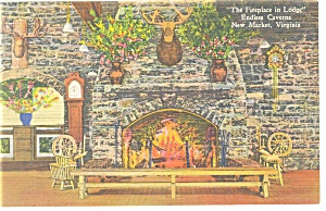 Endless Caverns Va Fireplace In The Lodge Postcard P11370