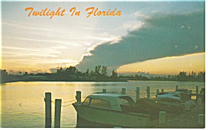 Twilight in Florida Waterway Scene Postcard p11386 (Image1)