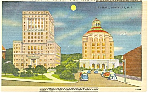 Asheville NC City Hall,Court House at Night Postcard p11418 (Image1)