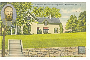 Winchester, VA, Stonewall Jackson's Hdqtrs Postcard (Image1)