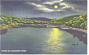 Scene on Allegheny River,PA Postcard (Image1)